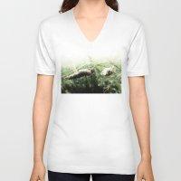 grass V-neck T-shirts featuring grass by emegi