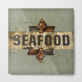 Seafood Fishing Nautical Northwest Washington Old Sign Architecture Distressed Farmhouse Vintage Metal Print