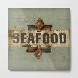Seafood Fishing Nautical Northwest Washington Old Sign Architecture Distressed Farmhouse Vintage Metal Print