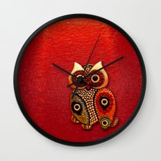 Cute Retro beads Owl apple iPhone 4 4s 5 5c, ipod, ipad, pillow case, tshirt and mugs Wall Clock