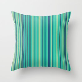 Deep Sea Green Candy Lines Throw Pillow