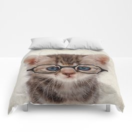 Kitten with Glasses Comforters
