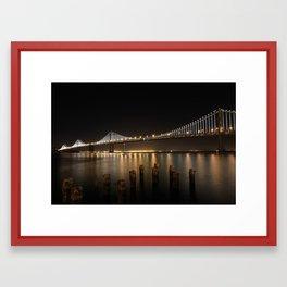 Bay Bridge LED Lights Framed Art Print