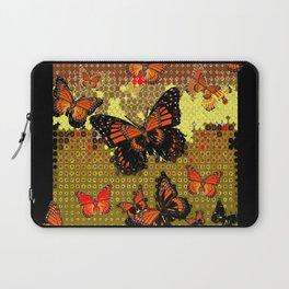 Abstracted Black & Orange Monarch Butterflies Laptop Sleeve