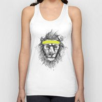 hipster Tank Tops featuring hipster lion by Balazs Solti