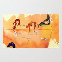 mermaids Area & Throw Rugs featuring Mermaids by Leah Gonzales