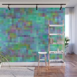 geometric square pixel pattern abstract in green blue pink Wall Mural