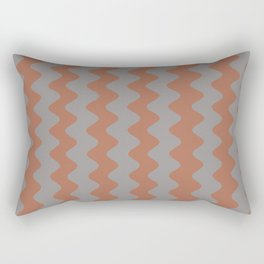Cavern Clay SW 7701 and Slate Violet Gray SW9155 Wavy Vertical Rippled Stripes Rectangular Pillow
