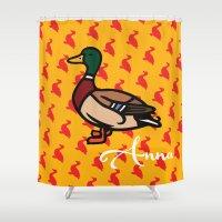 duck Shower Curtains featuring Duck  by Redbirchstudio