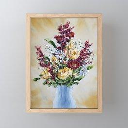 Autumn Floral Bouquet, Mustard Flowers in White Vase Framed Mini Art Print