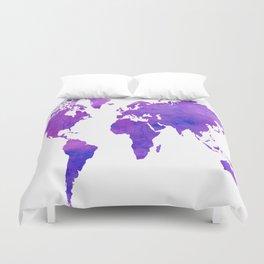 Purple Map Duvet Cover