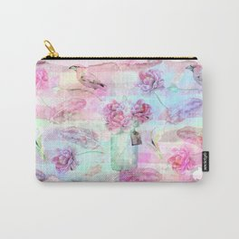 Summer pattern - Floral Flowers in pink on #Society6 Carry-All Pouch