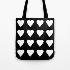 16 Hearts White on Black Tote Bag