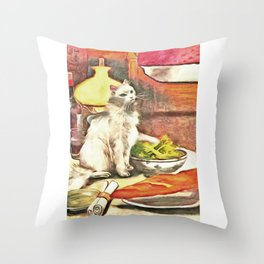 3 Retro Cat Artwork Throw Pillow