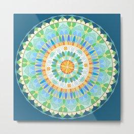 Mandala en azules Metal Print