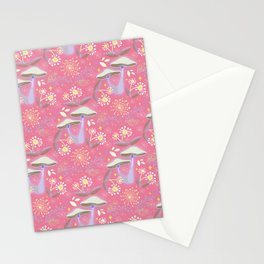 Magical Mushroom Garden pink Stationery Cards