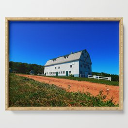 Barn and Red Sands under Blue Skies Serving Tray