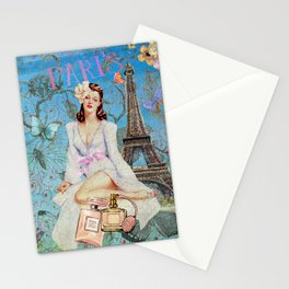 Paris - mon amour - Fashion Girl In France Eiffel tower Nostalgy - French Vintage Stationery Cards
