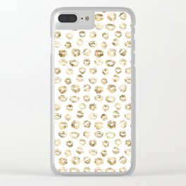 Girly Fashion Lips Gold Lipstick Pattern 2 Clear iPhone Case