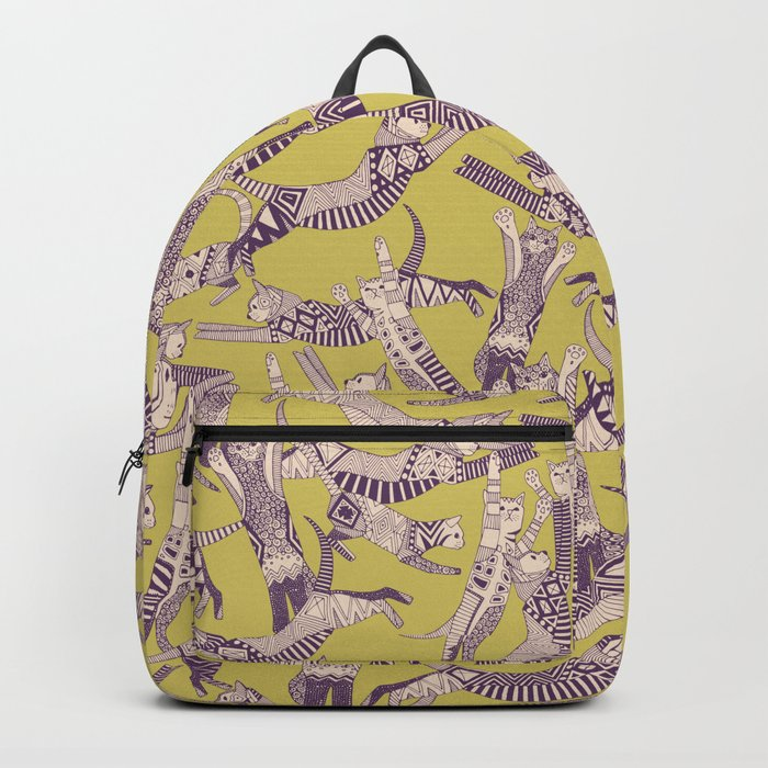 cat party mustard purple Backpack