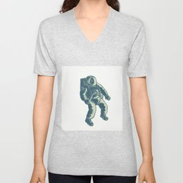 Astronaut Floating in Space Scratchboard Unisex V-Neck