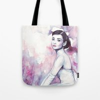 audrey hepburn Tote Bags featuring Audrey Hepburn by Olechka