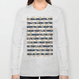 Nautical modern navy blue white stripes blush beige pineapple Long Sleeve T-shirt