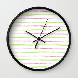 Modern lime green pink watercolor watermelon stripes Wall Clock