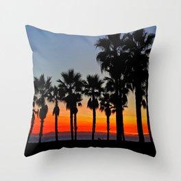 Huntington Beach Sunset Palms     ~    12/13/13 Throw Pillow