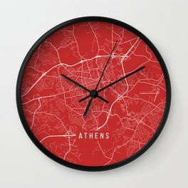 Athens Map, USA - Red Wall Clock