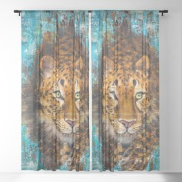 Graceful animal. Big spotted cat. Clever leopard on the hunt. Sheer Curtain