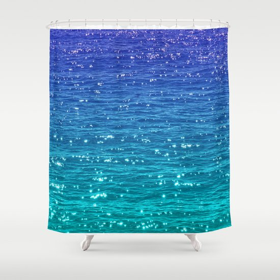 sea sparkle shower curtain by catspaws society6