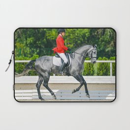 Beautiful girl riding a gray horse Laptop Sleeve
