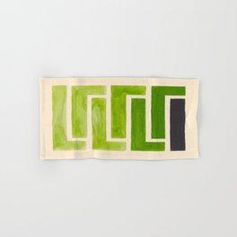 Sap Green Geometric Watercolor Painting Hand & Bath Towel