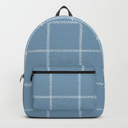 French Blue Linen Check Backpack