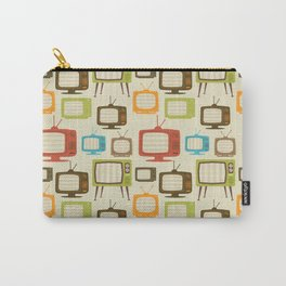 retro TV set pattern background. Vector illustration. Carry-All Pouch