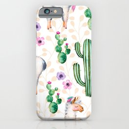 Colorful pattern cactus and lamas pattern iPhone Case