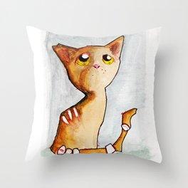 Orange Zombie Kitty Throw Pillow