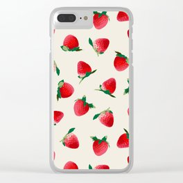 Strawberry pattern Clear iPhone Case