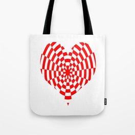 Monochrome Daze Red Heart Tote Bag