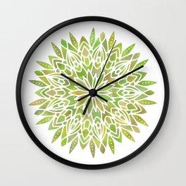 Mandala Desert Cactus Green Wall Clock
