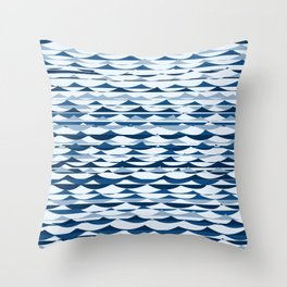 Glitch Waves - Classic Blue Throw Pillow
