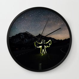 Angel on the Road Before the Night Sky Wall Clock