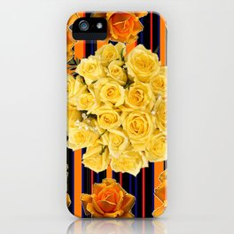 GOLDEN & YELLOW ROSES DARK STRIPES ART iPhone Case
