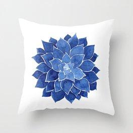 Indigo Succulent    Watercolor Painting Throw Pillow