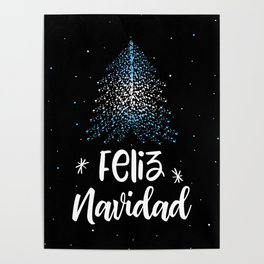 Merry Christmas and Argentinian flag Poster