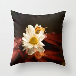 Baby Snail on a flower in the water  Throw Pillow