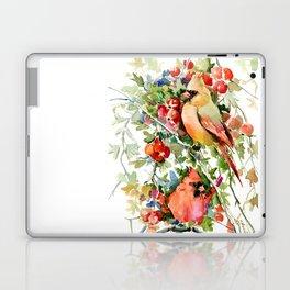Cardinal Birds and Hawthorn, Cardinal Bird Christmas Design art floral bird decor Laptop & iPad Skin