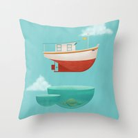 anaconda Throw Pillows featuring Floating Boat by ErDavid