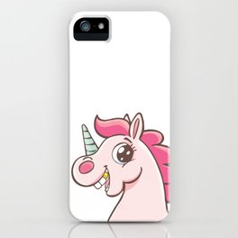 Unicorn with gold teeth iPhone Case